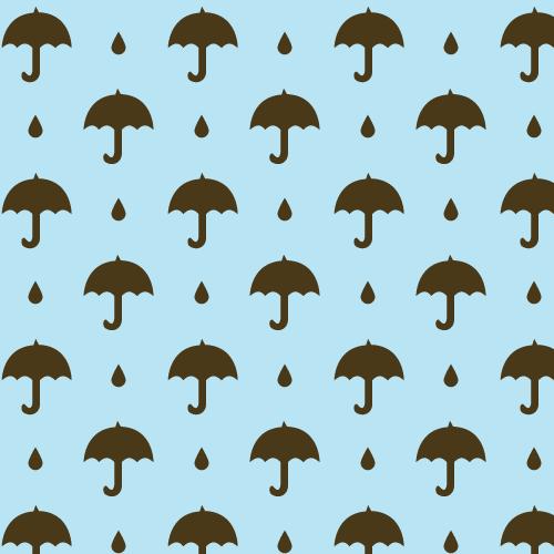 Umbrella and Raindrops Pattern